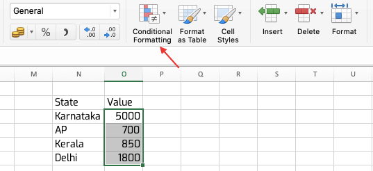 Conditional Formatting in Excel-Step 2