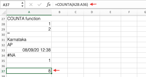 COUNTIA Function In Excel