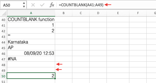 COUNTBLANK Function In Excel