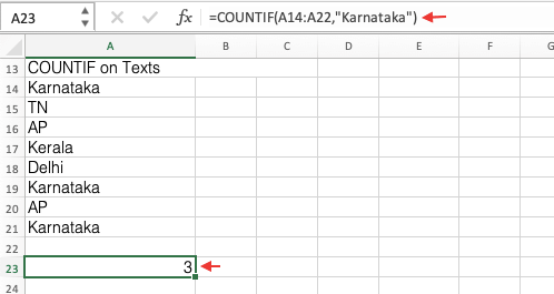 COUNTIF Function on Texts