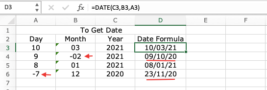 Date Formula Negative Values in Excel