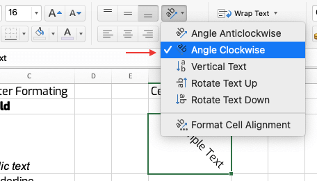 Excel Cell Rotation