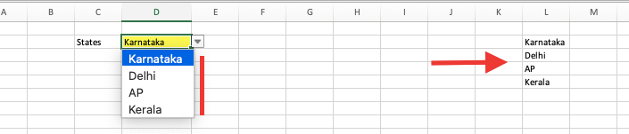 Drop Down Example in Excel