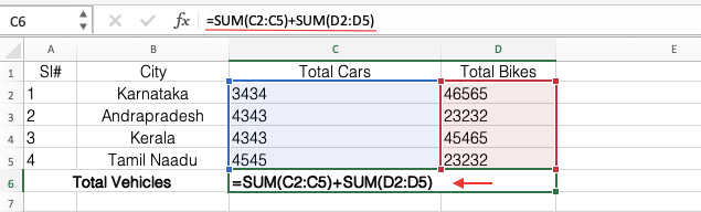 Multiple Range Sum in Excel