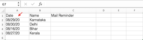 Reminders in Excel
