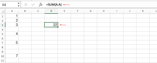 Sum Entire Column in Excel
